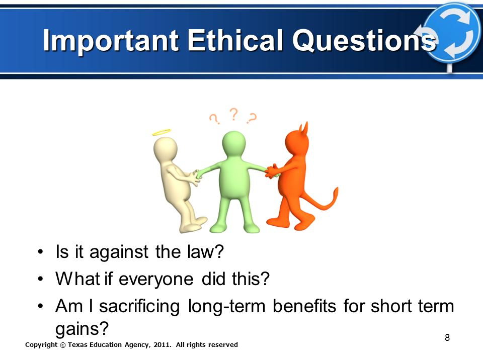 Important Ethical Questions Is it against the law.