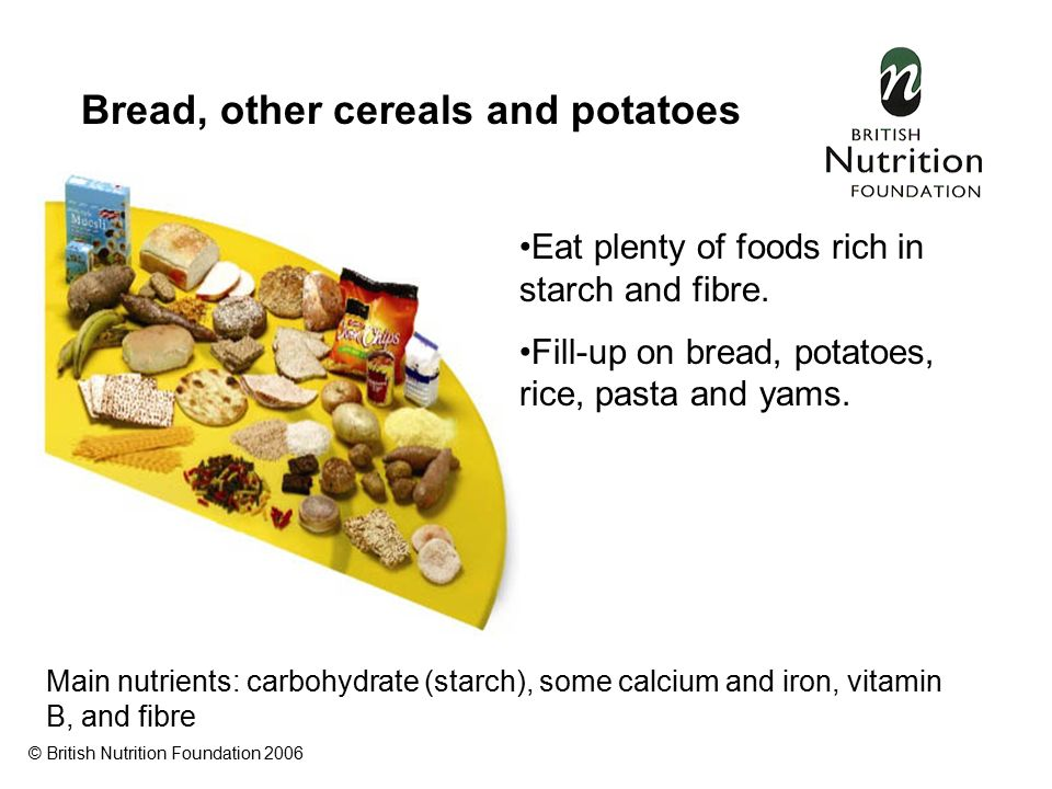 Bread, other cereals and potatoes Eat plenty of foods rich in starch and fibre.