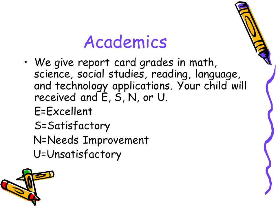 Academics We give report card grades in math, science, social studies, reading, language, and technology applications.