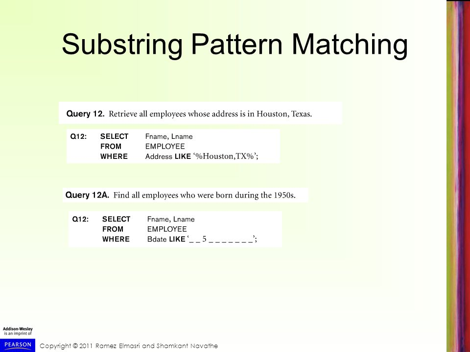 Copyright © 2011 Ramez Elmasri and Shamkant Navathe Substring Pattern Matching