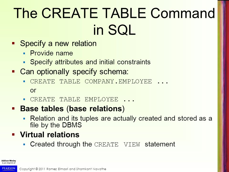 Copyright © 2011 Ramez Elmasri and Shamkant Navathe The CREATE TABLE Command in SQL  Specify a new relation  Provide name  Specify attributes and initial constraints  Can optionally specify schema:  CREATE TABLE COMPANY.EMPLOYEE...