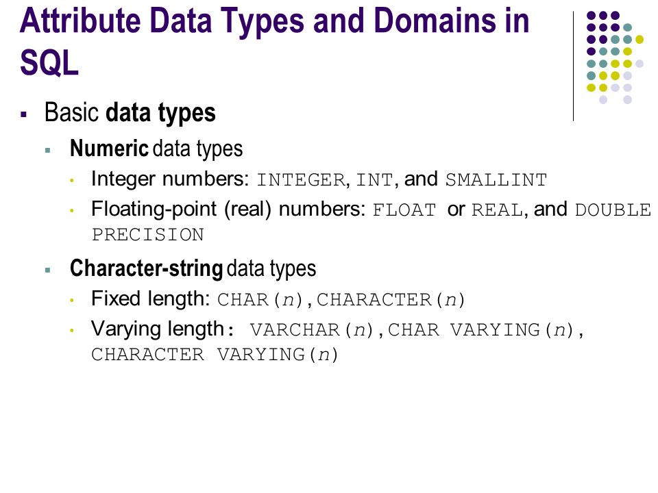 Attribute Data Types and Domains in SQL  Basic data types  Numeric data types Integer numbers: INTEGER, INT, and SMALLINT Floating-point (real) numbers: FLOAT or REAL, and DOUBLE PRECISION  Character-string data types Fixed length: CHAR(n), CHARACTER(n) Varying length : VARCHAR(n), CHAR VARYING(n), CHARACTER VARYING(n)
