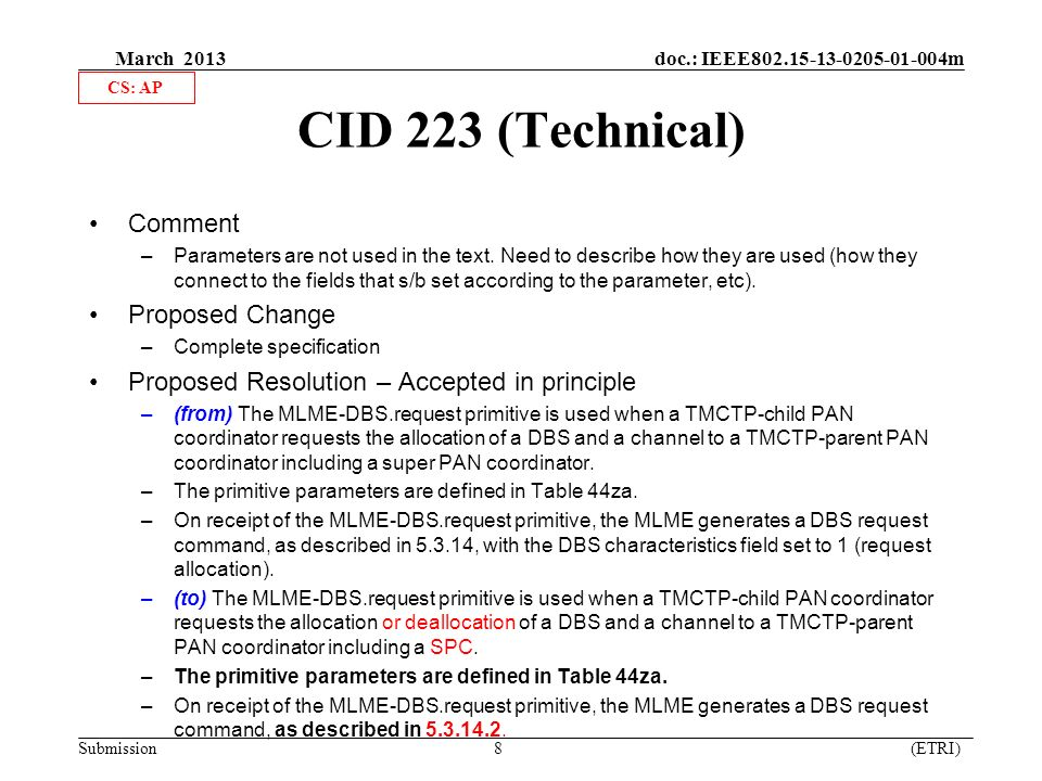 March 2013 doc.: IEEE m Submission 8 (ETRI) CID 223 (Technical) Comment –Parameters are not used in the text.