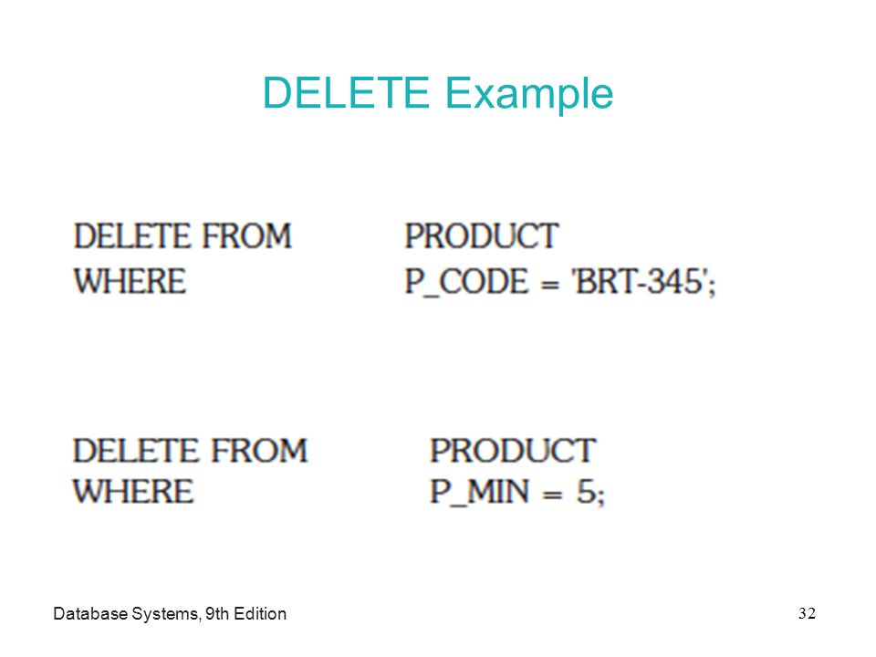 DELETE Example Database Systems, 9th Edition 32
