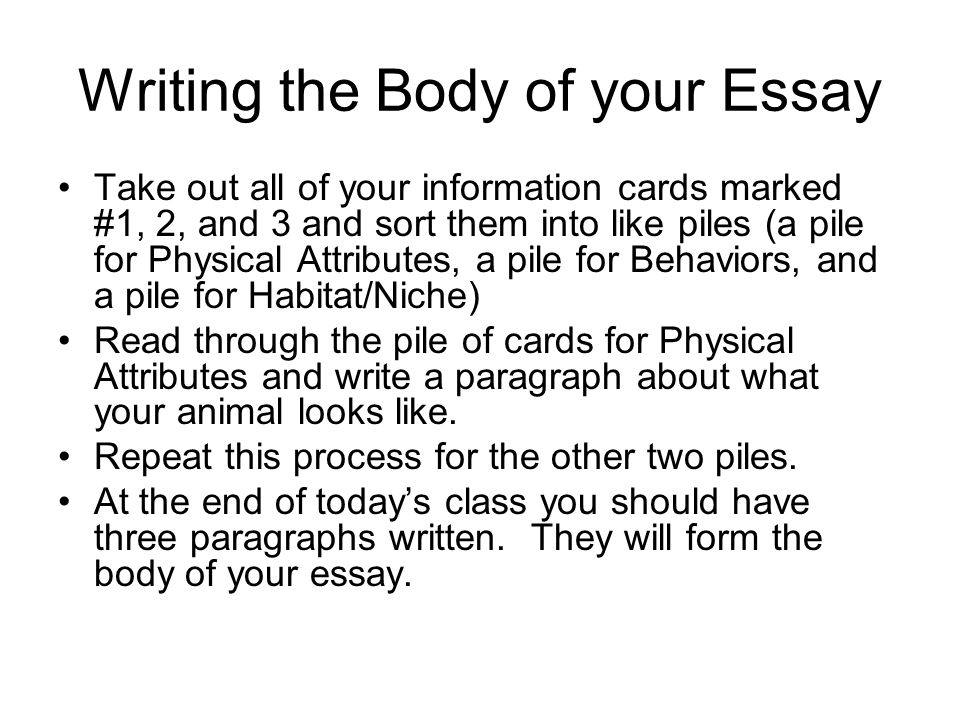 Writing the Body of your Essay Take out all of your information cards marked #1, 2, and 3 and sort them into like piles (a pile for Physical Attributes, a pile for Behaviors, and a pile for Habitat/Niche) Read through the pile of cards for Physical Attributes and write a paragraph about what your animal looks like.