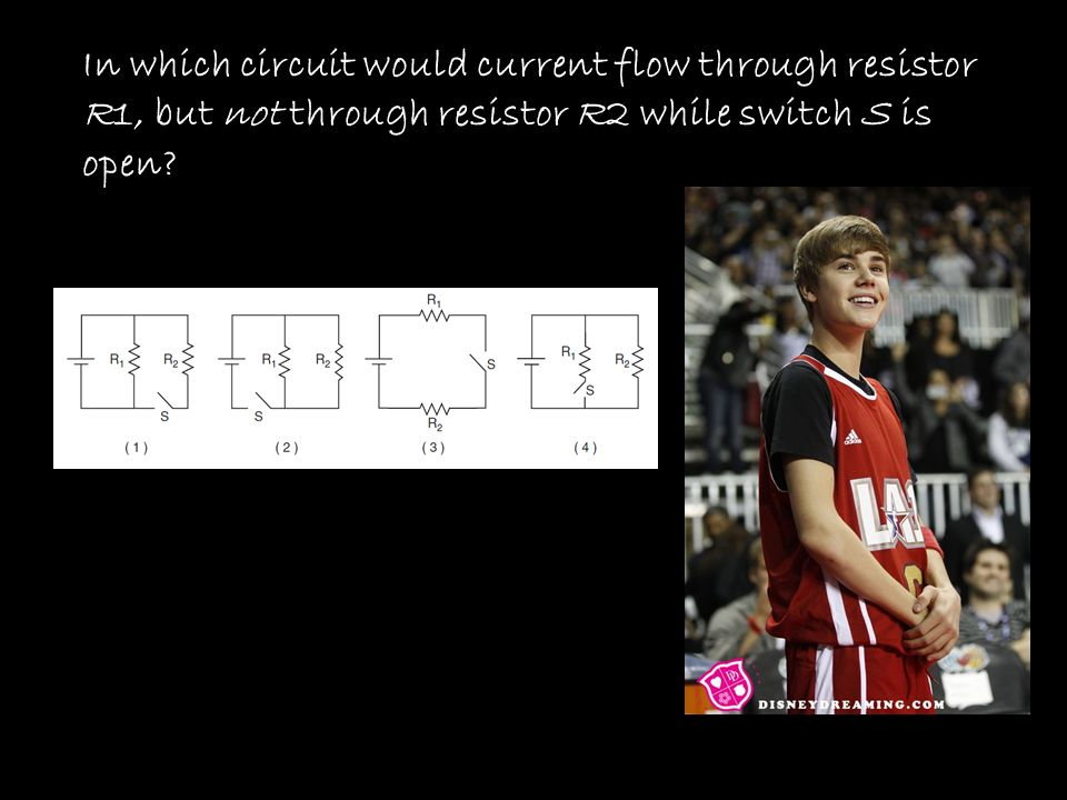 In which circuit would current flow through resistor R1, but not through resistor R2 while switch S is open