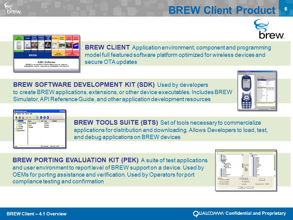 BREW Client – 4.1 Overview Confidential and Proprietary 6 BREW Client Product BREW CLIENT Application environment, component and programming model full featured software platform optimized for wireless devices and secure OTA updates BREW SOFTWARE DEVELOPMENT KIT (SDK) Used by developers to create BREW applications, extensions, or other device executables.