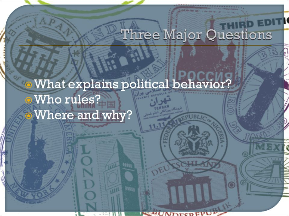  What explains political behavior?  Who rules?  Where and why?