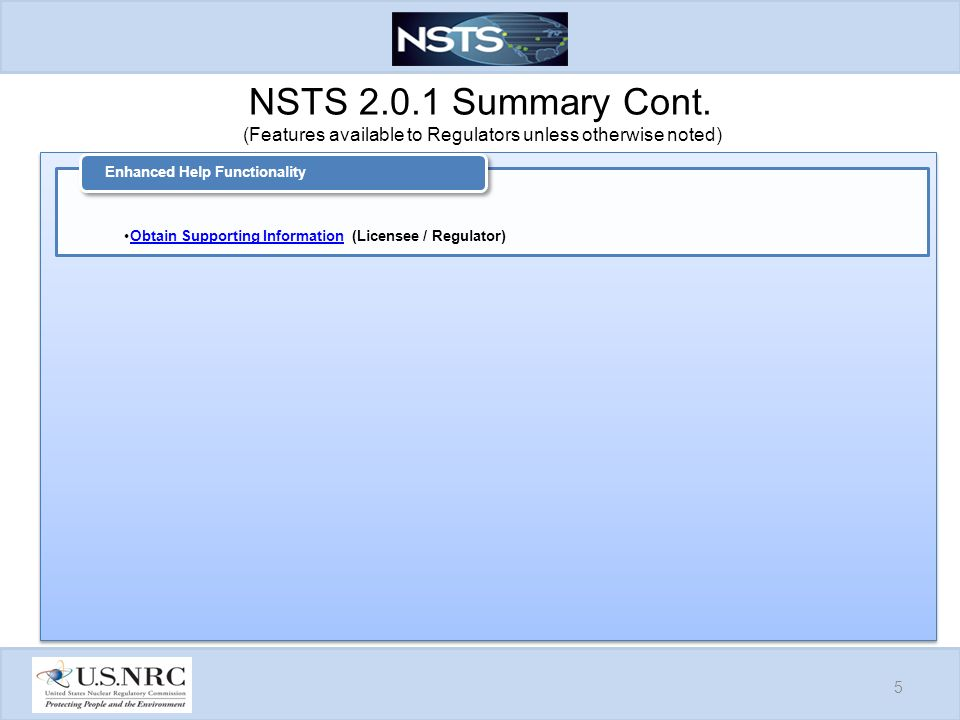 NSTS Summary Cont.