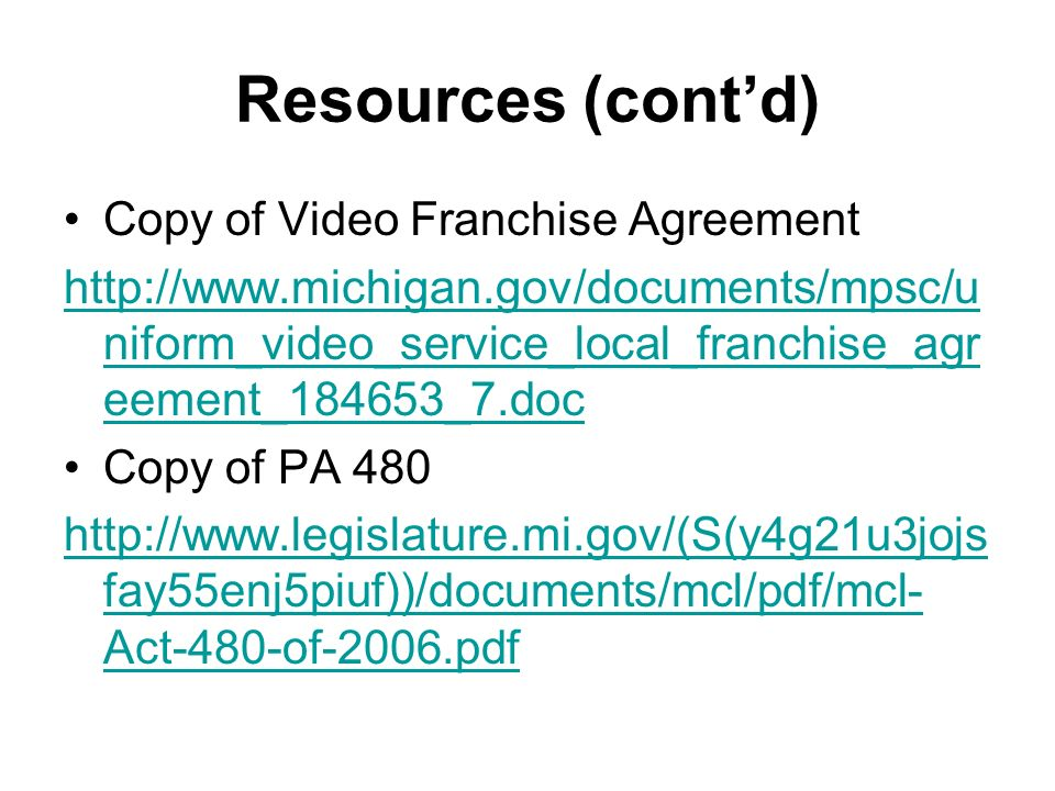 The Michigan Cable Act Are Your Franchise Fees At Risk Moderator
