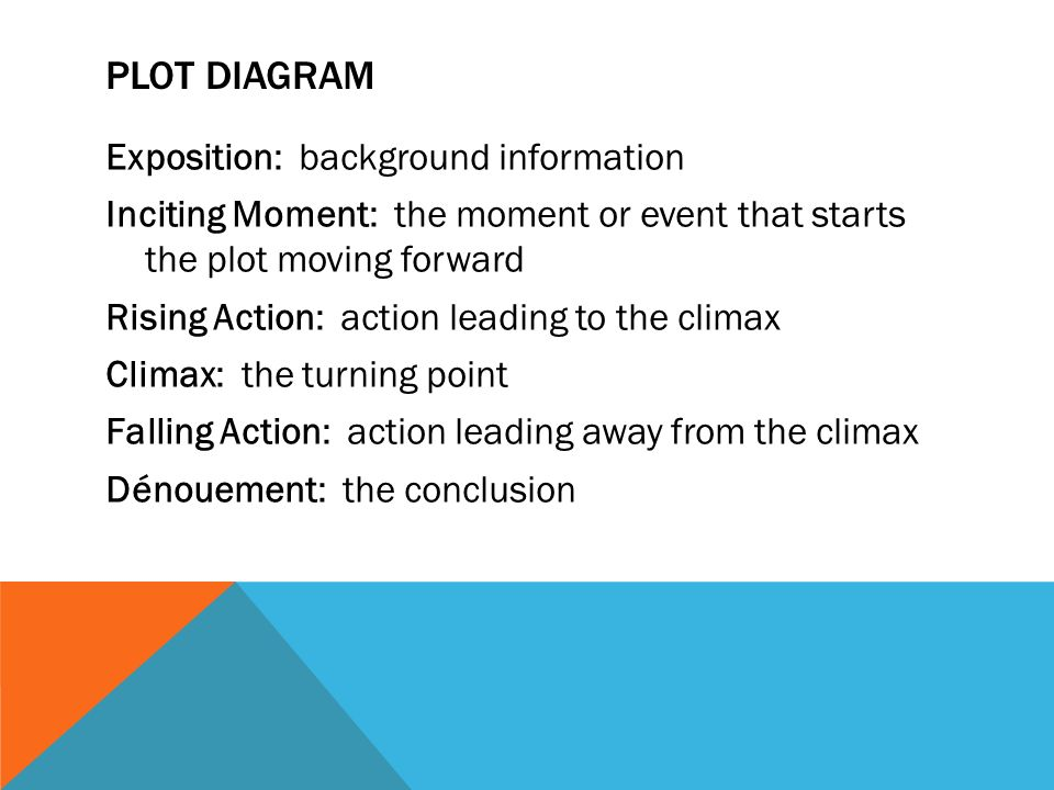PLOT DIAGRAM Exposition: background information Inciting Moment: the moment or event that starts the plot moving forward Rising Action: action leading to the climax Climax: the turning point Falling Action: action leading away from the climax Dénouement: the conclusion