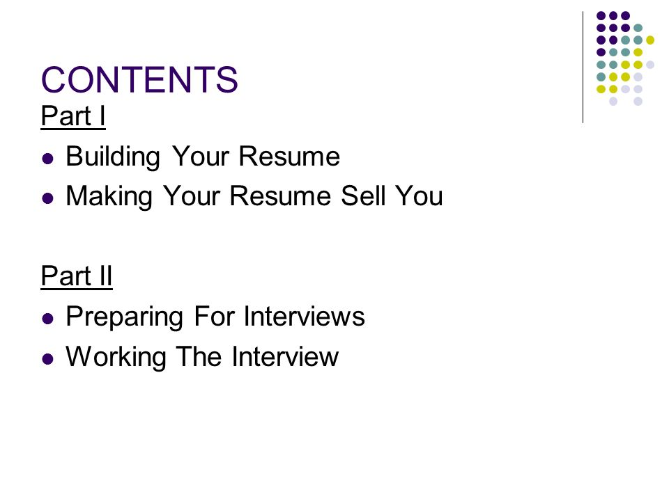 """RESUME & INTERVIEWING SKILLS """"MARKETING YOURSELF ONE WORD AT A TIME ..."""