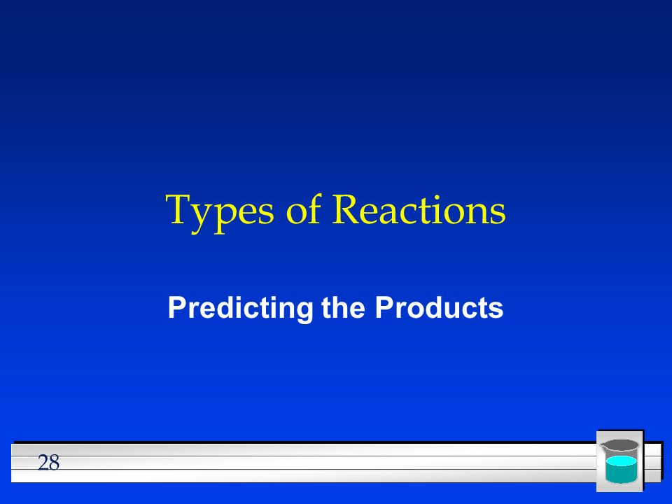 28 Types of Reactions Predicting the Products