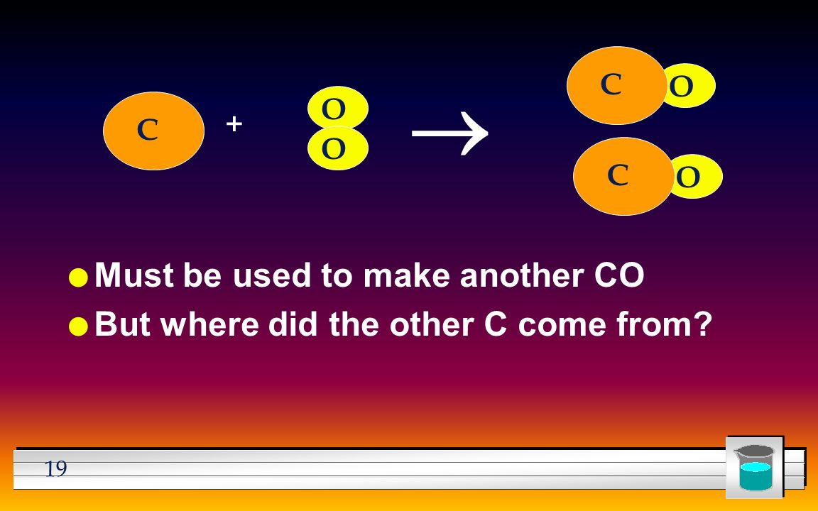 19 l Must be used to make another CO l But where did the other C come from C + O  C O O O C