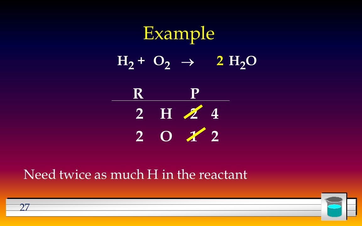 27 Example H 2 +H2OH2OO2O2  Need twice as much H in the reactant RP H O