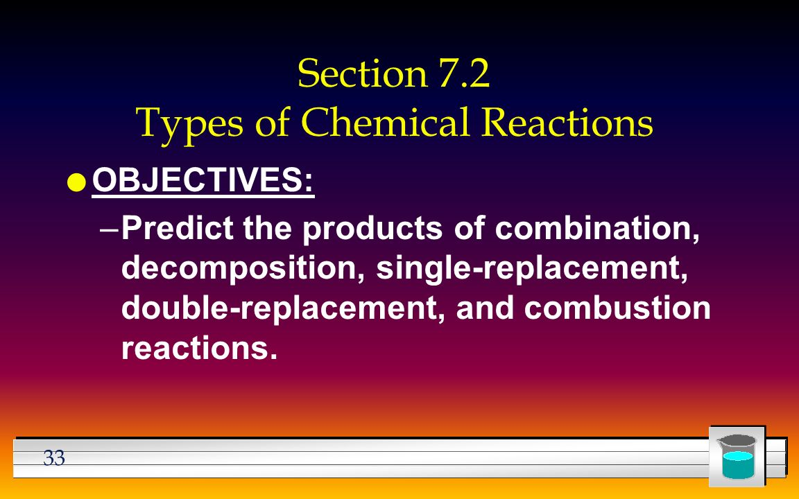 33 Section 7.2 Types of Chemical Reactions l OBJECTIVES: –Predict the products of combination, decomposition, single-replacement, double-replacement, and combustion reactions.