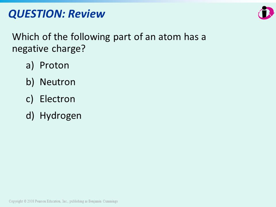 Copyright © 2008 Pearson Education, Inc., publishing as Benjamin Cummings QUESTION: Review Which of the following part of an atom has a negative charge.