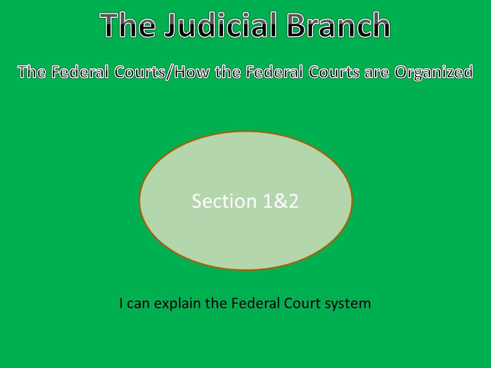 Section 1&2 I can explain the Federal Court system
