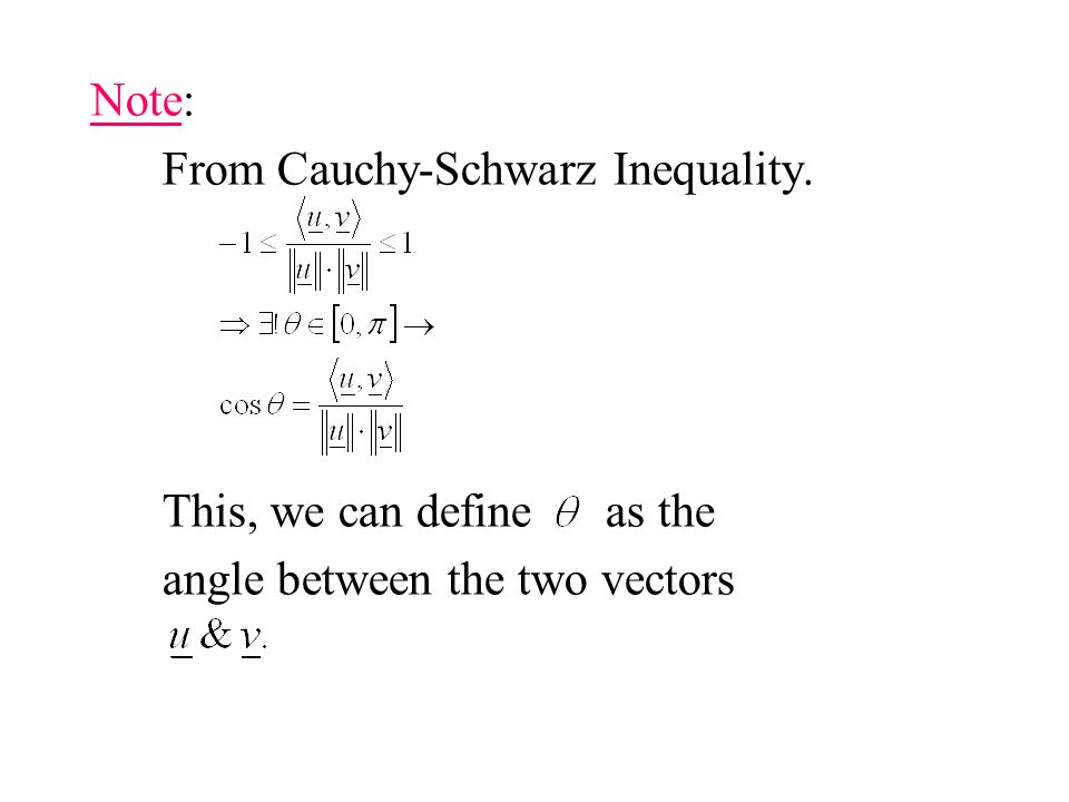 Note: From Cauchy-Schwarz Inequality. This, we can define as the angle between the two vectors