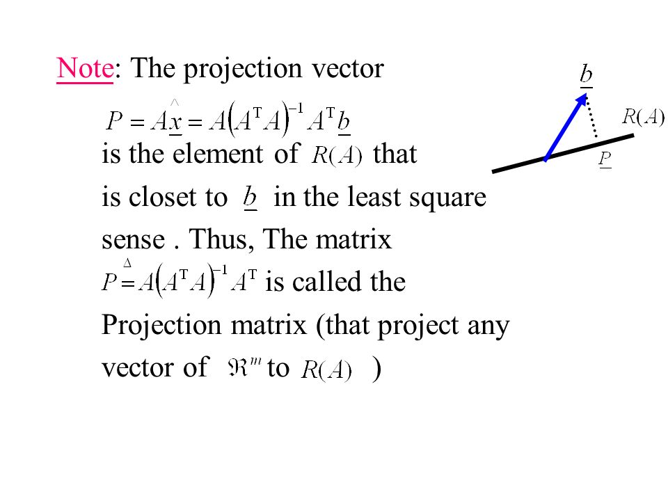 Note: The projection vector is the element of that is closet to in the least square sense.