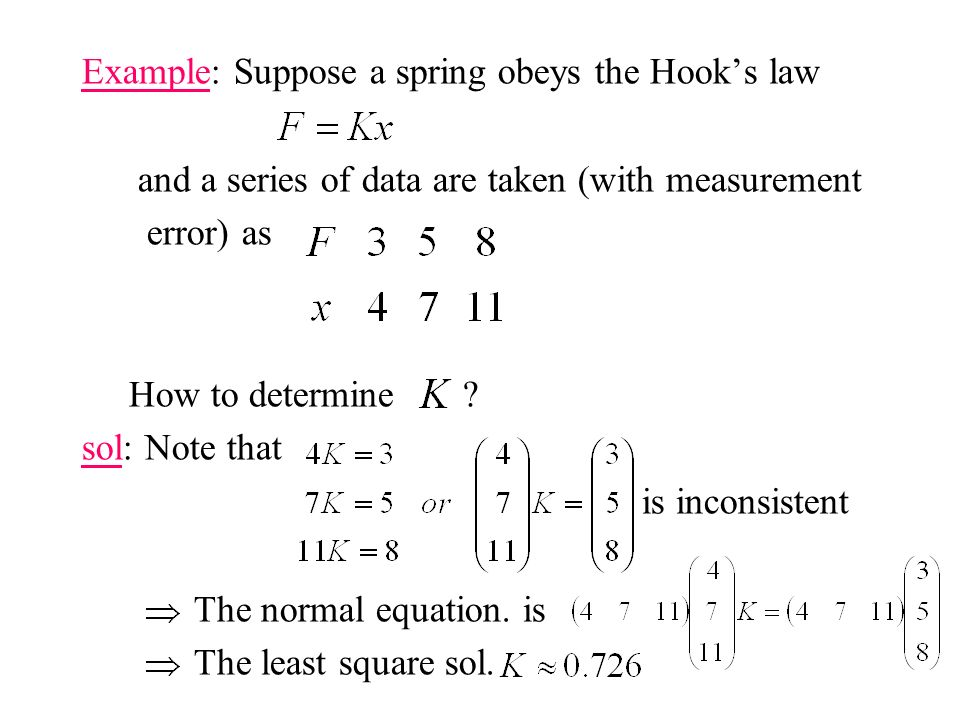 Example: Suppose a spring obeys the Hook's law and a series of data are taken (with measurement error) as How to determine .