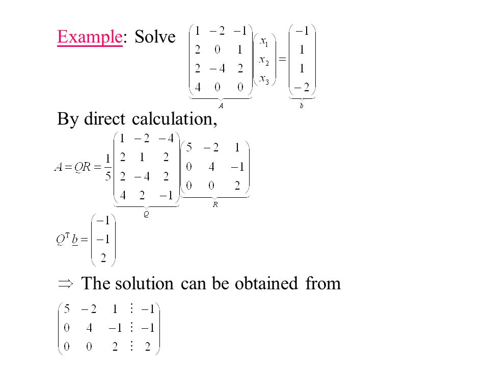 Example: Solve By direct calculation, The solution can be obtained from