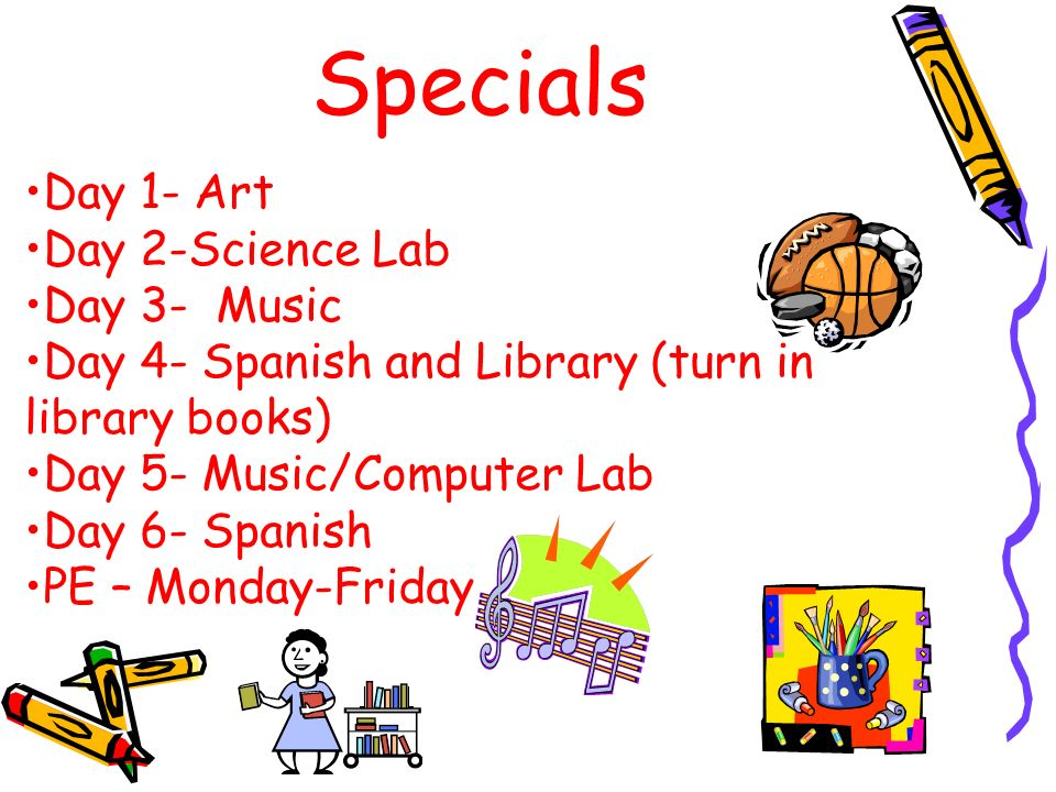 Specials Day 1- Art Day 2-Science Lab Day 3- Music Day 4- Spanish and Library (turn in library books) Day 5- Music/Computer Lab Day 6- Spanish PE – Monday-Friday