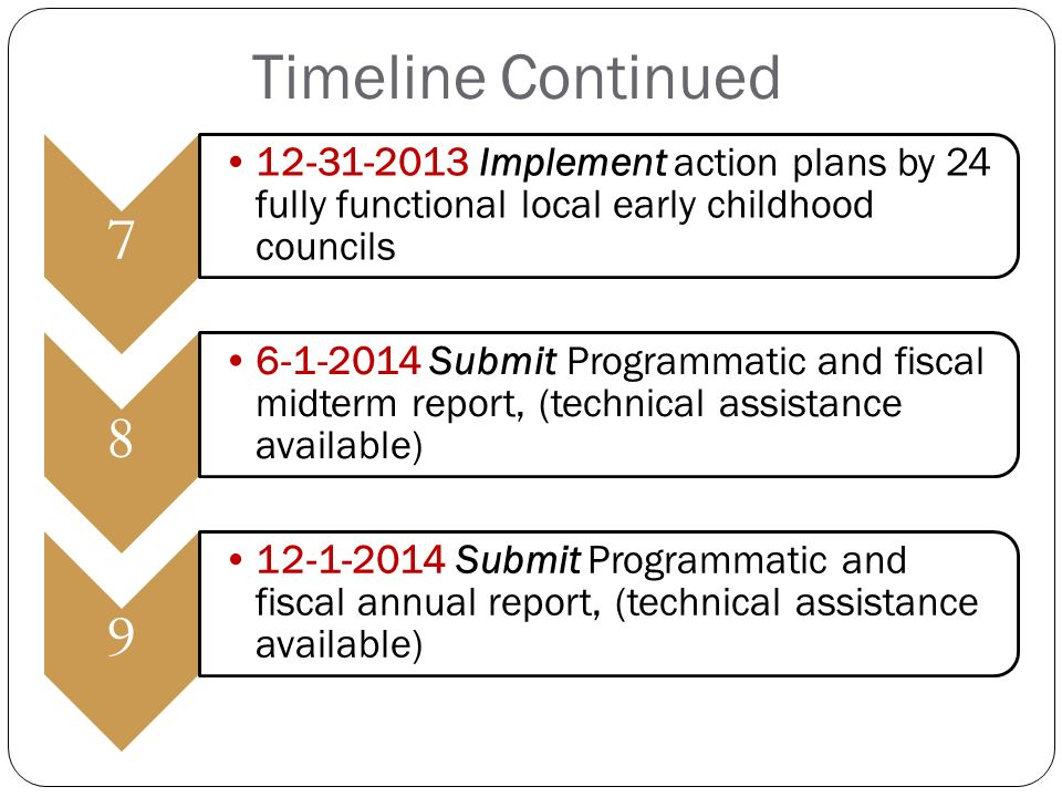 Implement action plans by 24 fully functional local early childhood councils Submit Programmatic and fiscal midterm report, (technical assistance available) Submit Programmatic and fiscal annual report, (technical assistance available) Timeline Continued