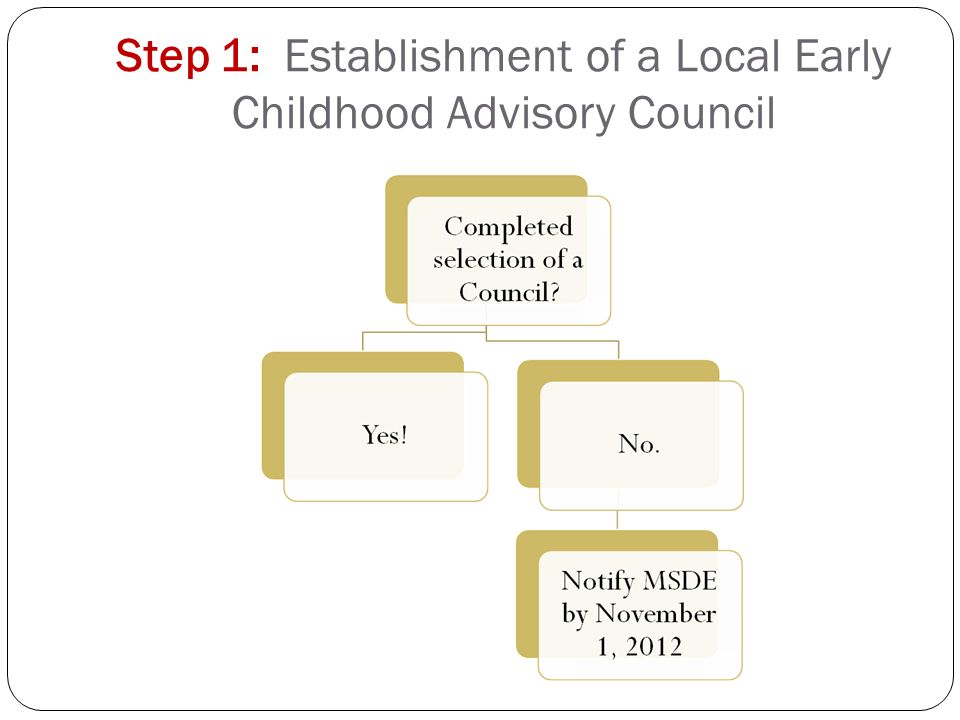 Step 1: Establishment of a Local Early Childhood Advisory Council