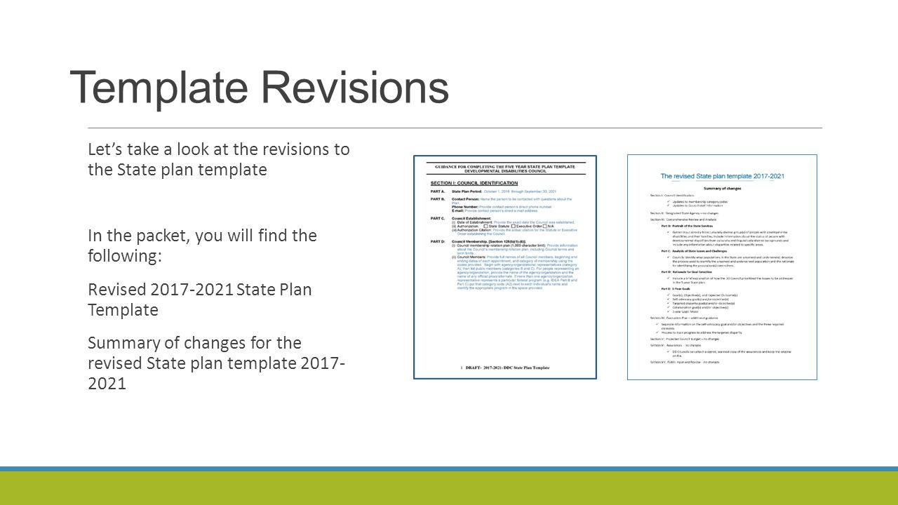 The revised state plan template background changes and focus of 3 template revisions pronofoot35fo Choice Image