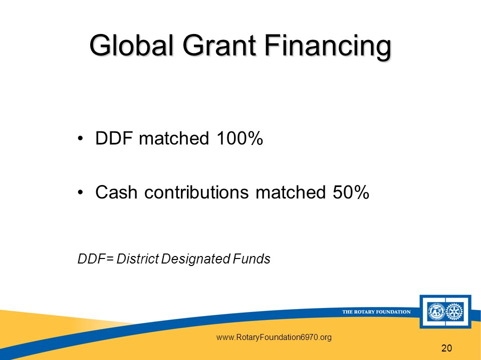 20 Global Grant Financing DDF matched 100% Cash contributions matched 50% DDF= District Designated Funds