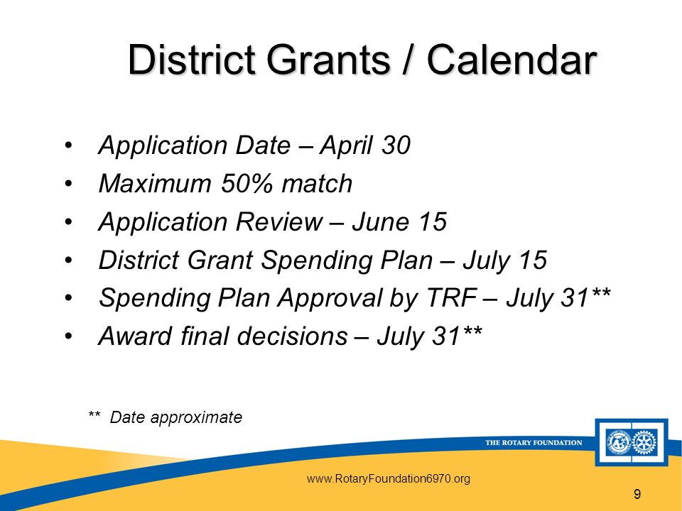 9 District Grants / Calendar Application Date – April 30 Maximum 50% match Application Review – June 15 District Grant Spending Plan – July 15 Spending Plan Approval by TRF – July 31** Award final decisions – July 31** ** Date approximate