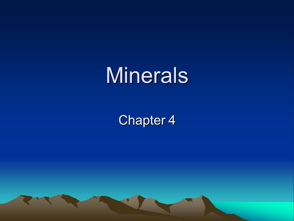 Minerals Chapter 4