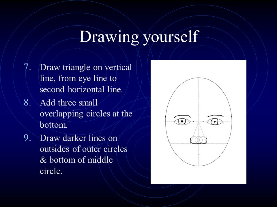 Drawing yourself 7. Draw triangle on vertical line, from eye line to second horizontal line.