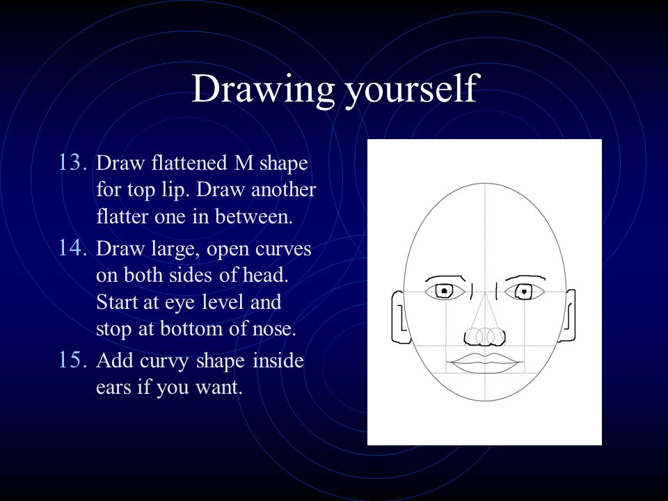 Drawing yourself 13. Draw flattened M shape for top lip.
