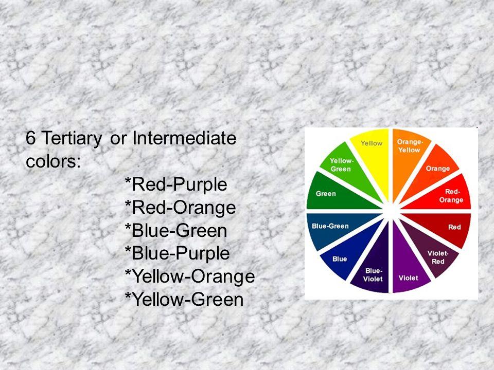 12 6 Tertiary Or Intermediate Colors Red Purple Orange Blue Green Yellow