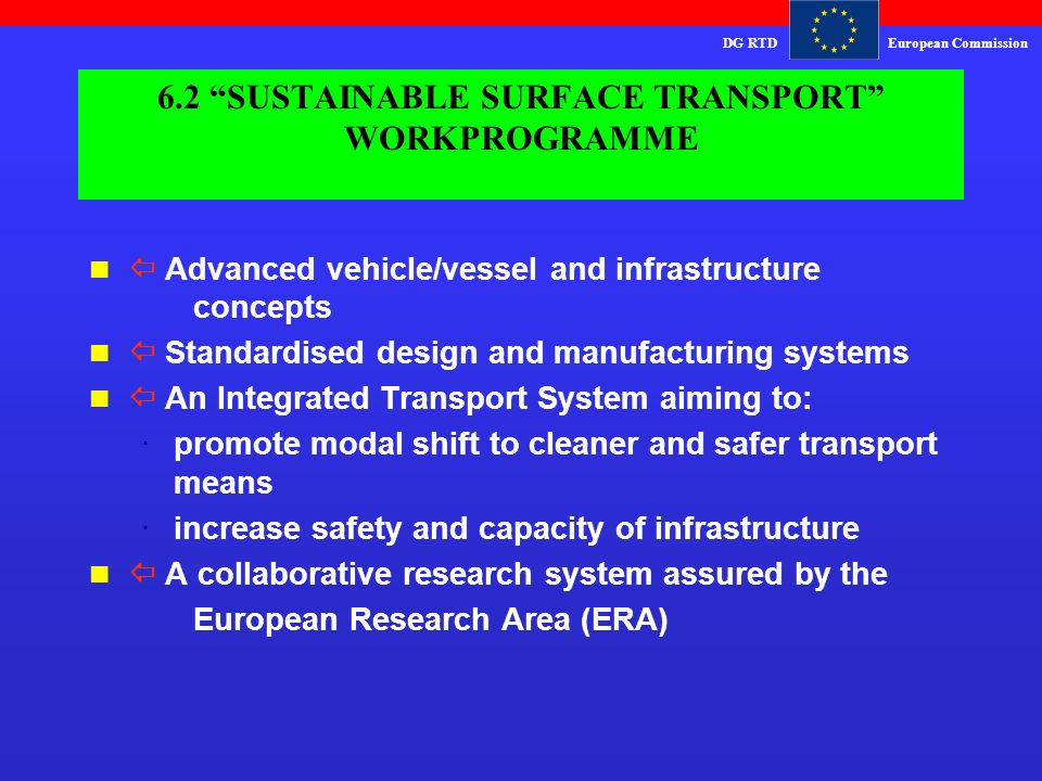 DG RTDEuropean Commission 6.2 SUSTAINABLE SURFACE TRANSPORT WORKPROGRAMME  Advanced vehicle/vessel and infrastructure concepts  Standardised design and manufacturing systems  An Integrated Transport System aiming to: ·promote modal shift to cleaner and safer transport means ·increase safety and capacity of infrastructure n  A collaborative research system assured by the European Research Area (ERA)
