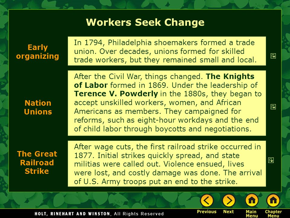 Workers Seek Change After the Civil War, things changed.