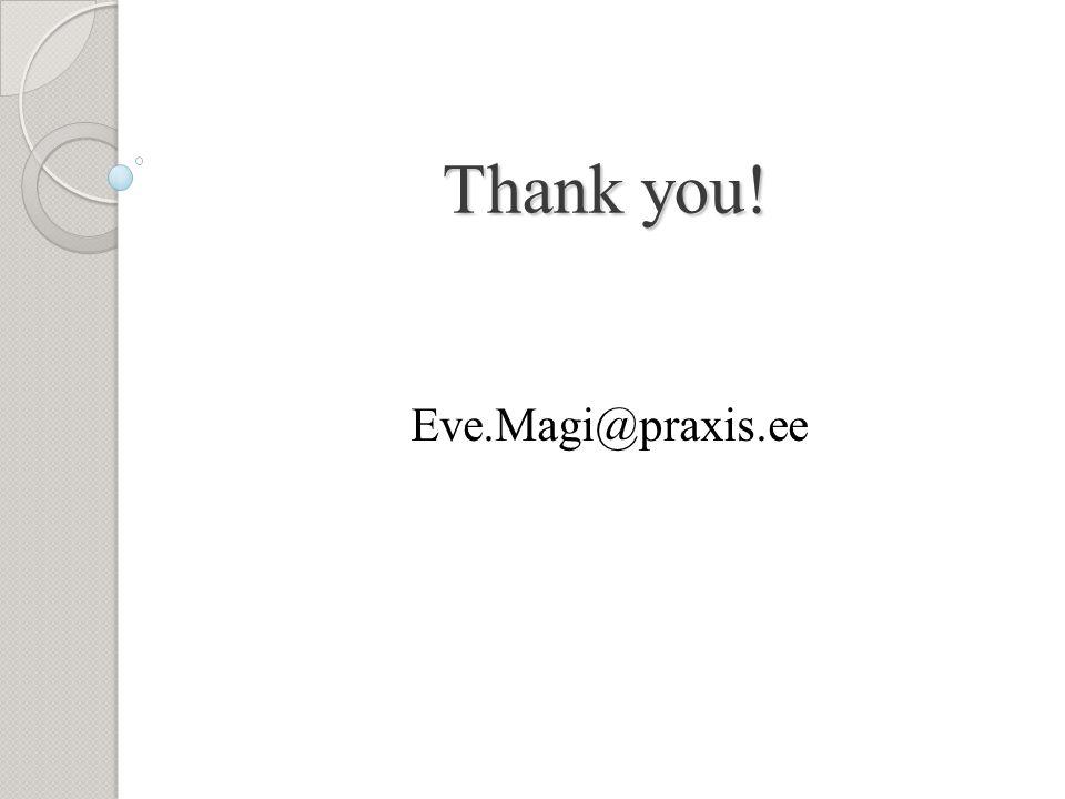 Thank you! Eve.Magi@praxis.ee