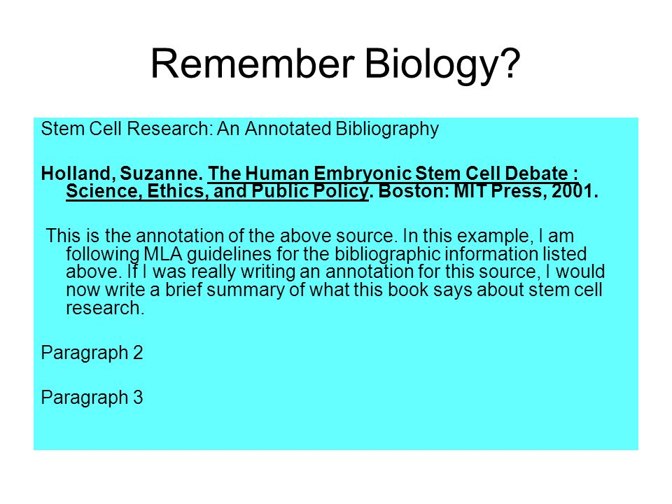 stem cell research paper annotated bibliography