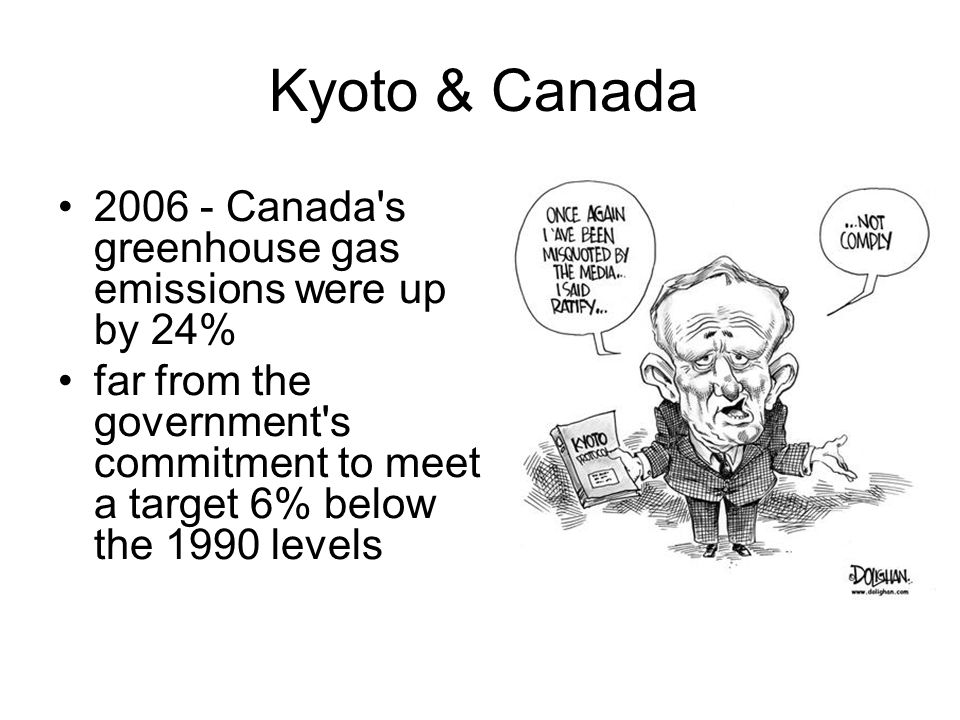 Kyoto & Canada 2006 - Canada s greenhouse gas emissions were up by 24% far from the government s commitment to meet a target 6% below the 1990 levels