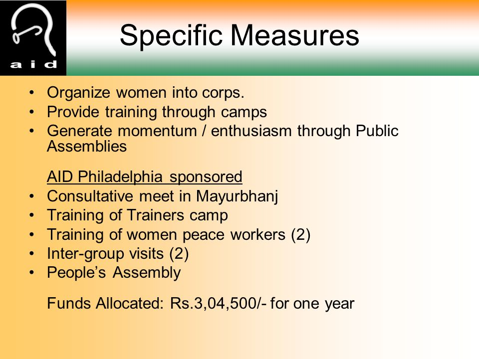 Specific Measures Organize women into corps.