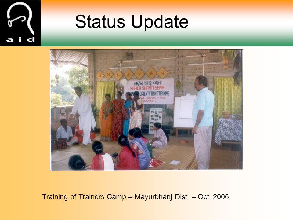 Status Update Training of Trainers Camp – Mayurbhanj Dist. – Oct. 2006
