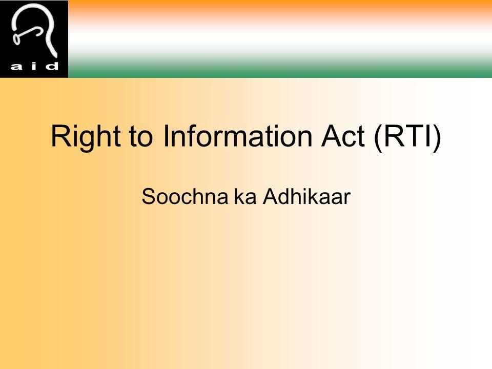 Right to Information Act (RTI) Soochna ka Adhikaar