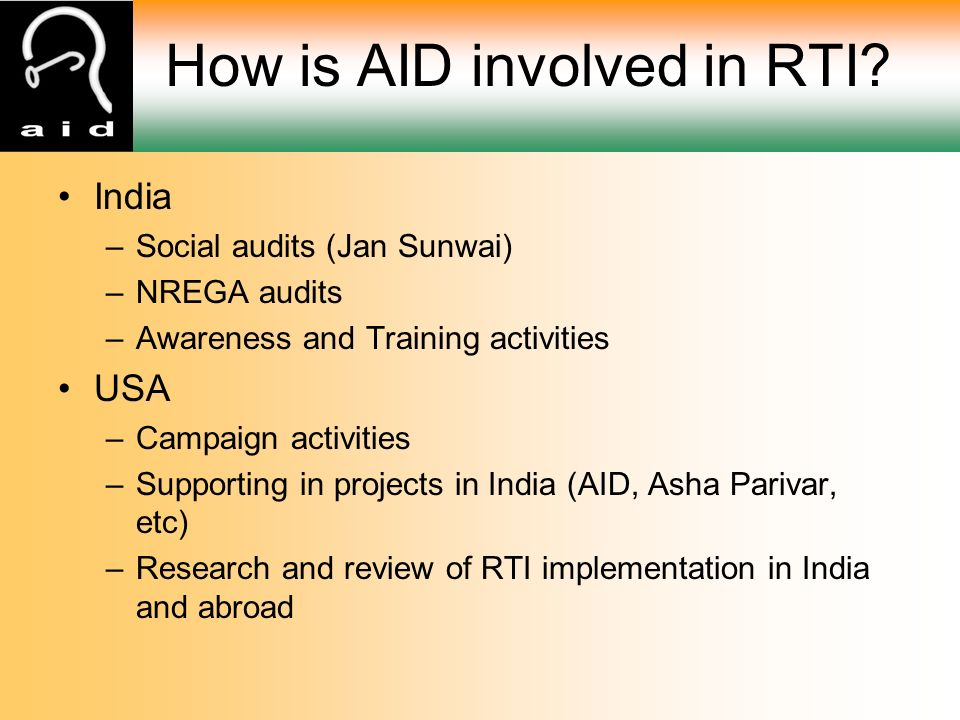 How is AID involved in RTI.