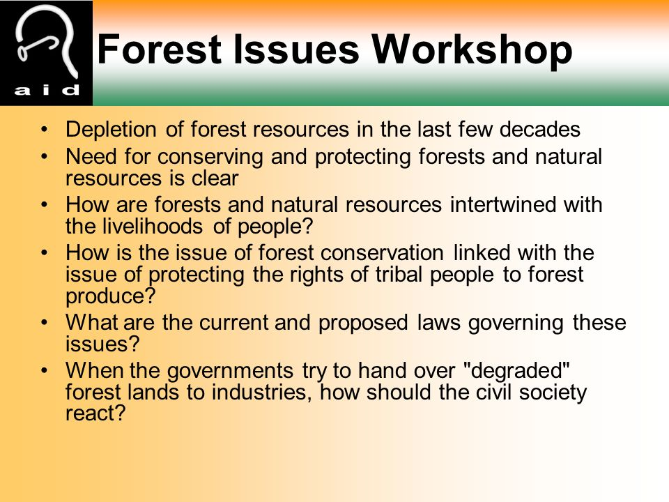 Forest Issues Workshop Depletion of forest resources in the last few decades Need for conserving and protecting forests and natural resources is clear How are forests and natural resources intertwined with the livelihoods of people.