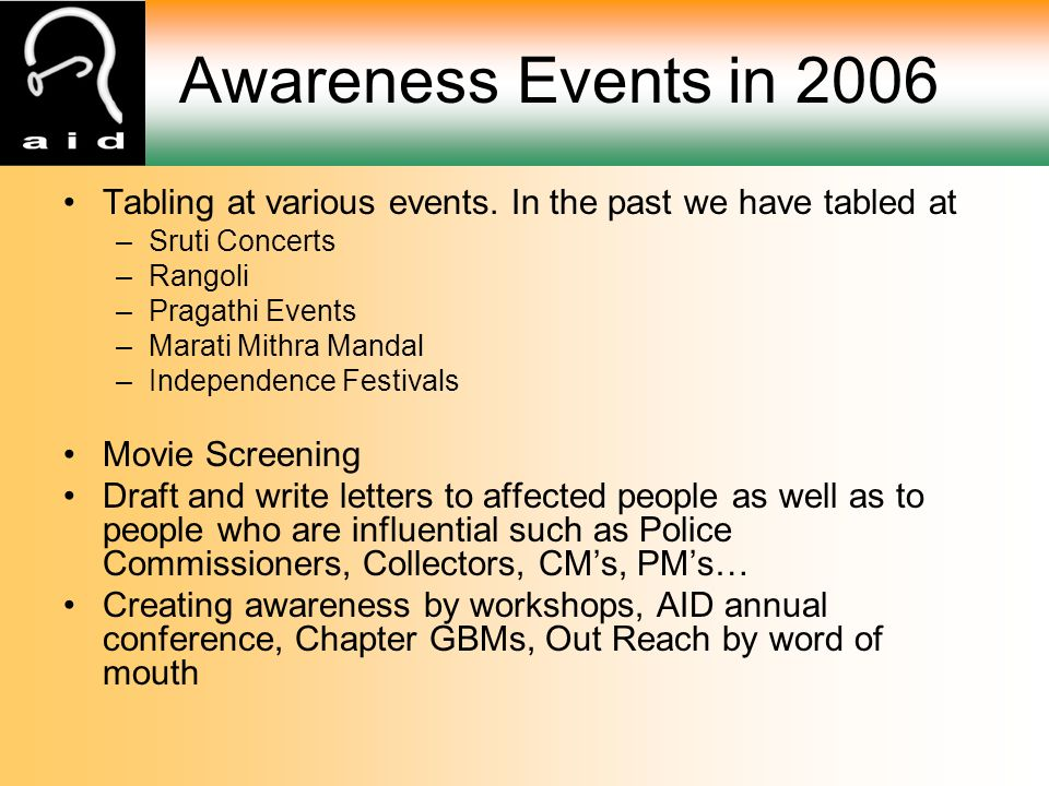 Awareness Events in 2006 Tabling at various events.