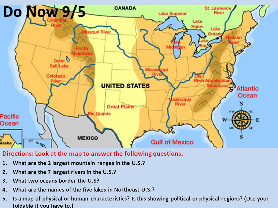 Directions Look At And Interpret The Map Above Then Answer The - Eastern us mountain ranges map