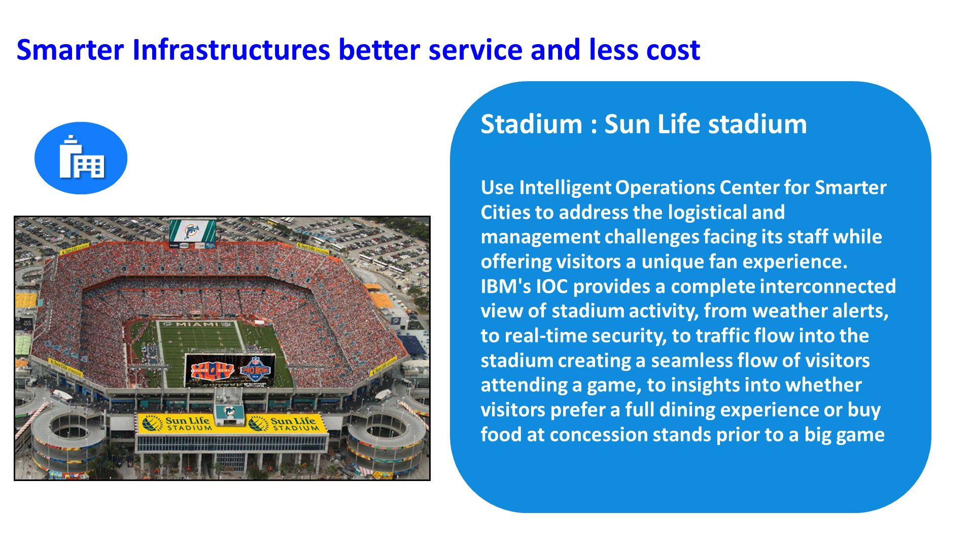 Stadium : Sun Life stadium Use Intelligent Operations Center for Smarter Cities to address the logistical and management challenges facing its staff while offering visitors a unique fan experience.