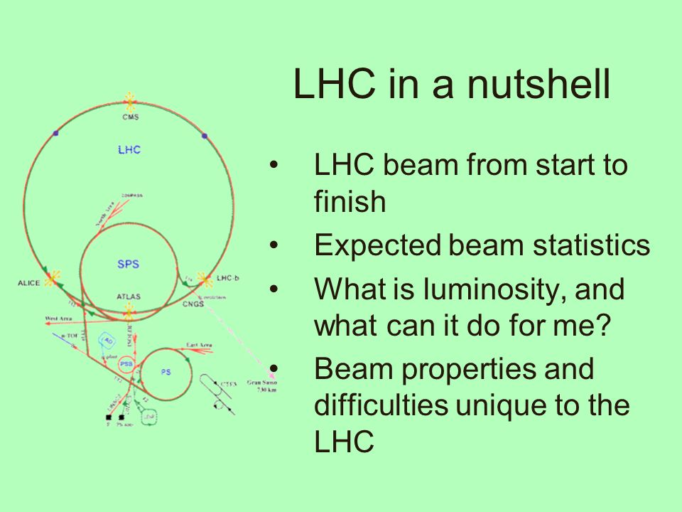 LHC in a nutshell LHC beam from start to finish Expected beam statistics What is luminosity, and what can it do for me.